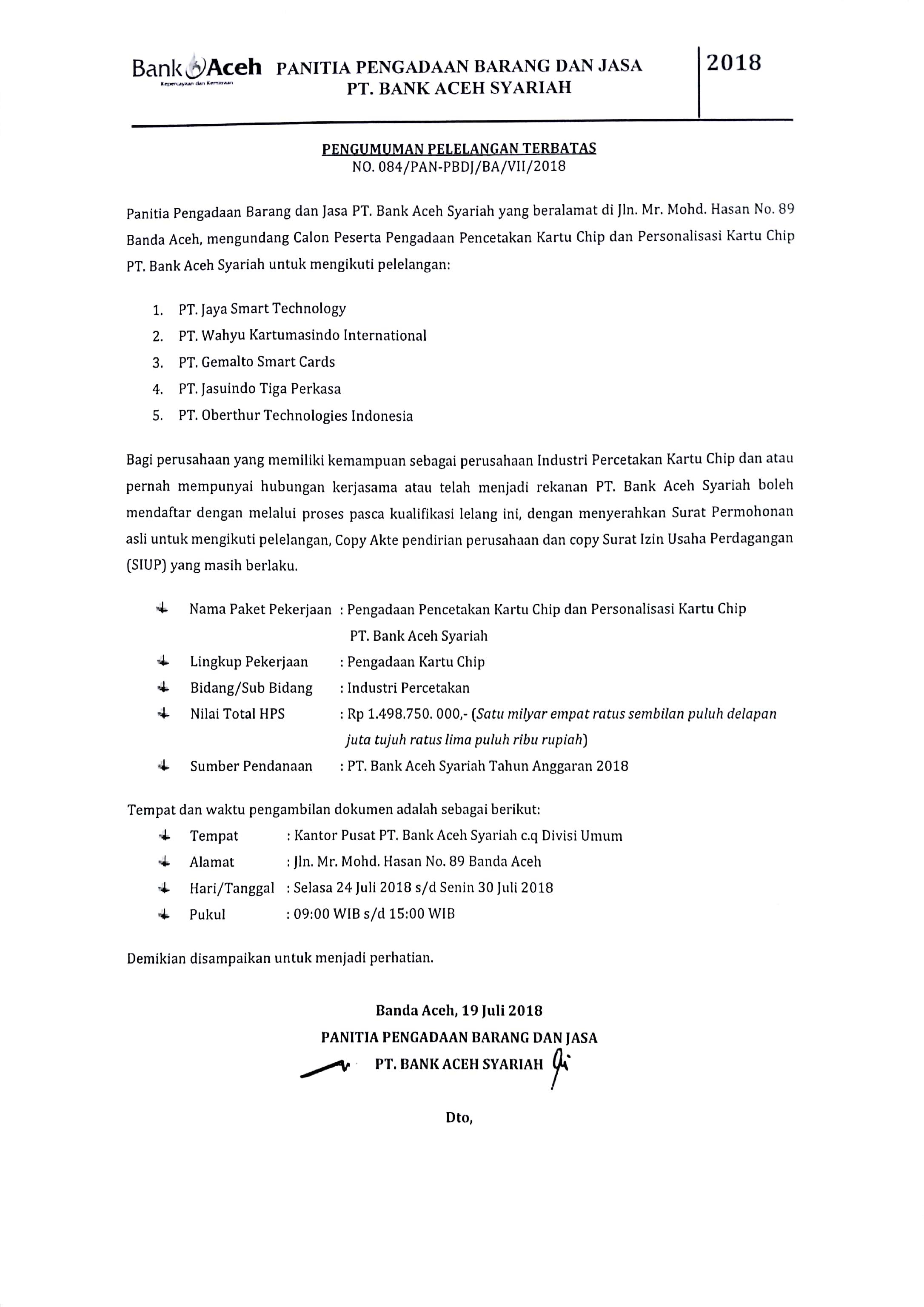 Pengumuman Pelelangan Terbatas Bank Aceh