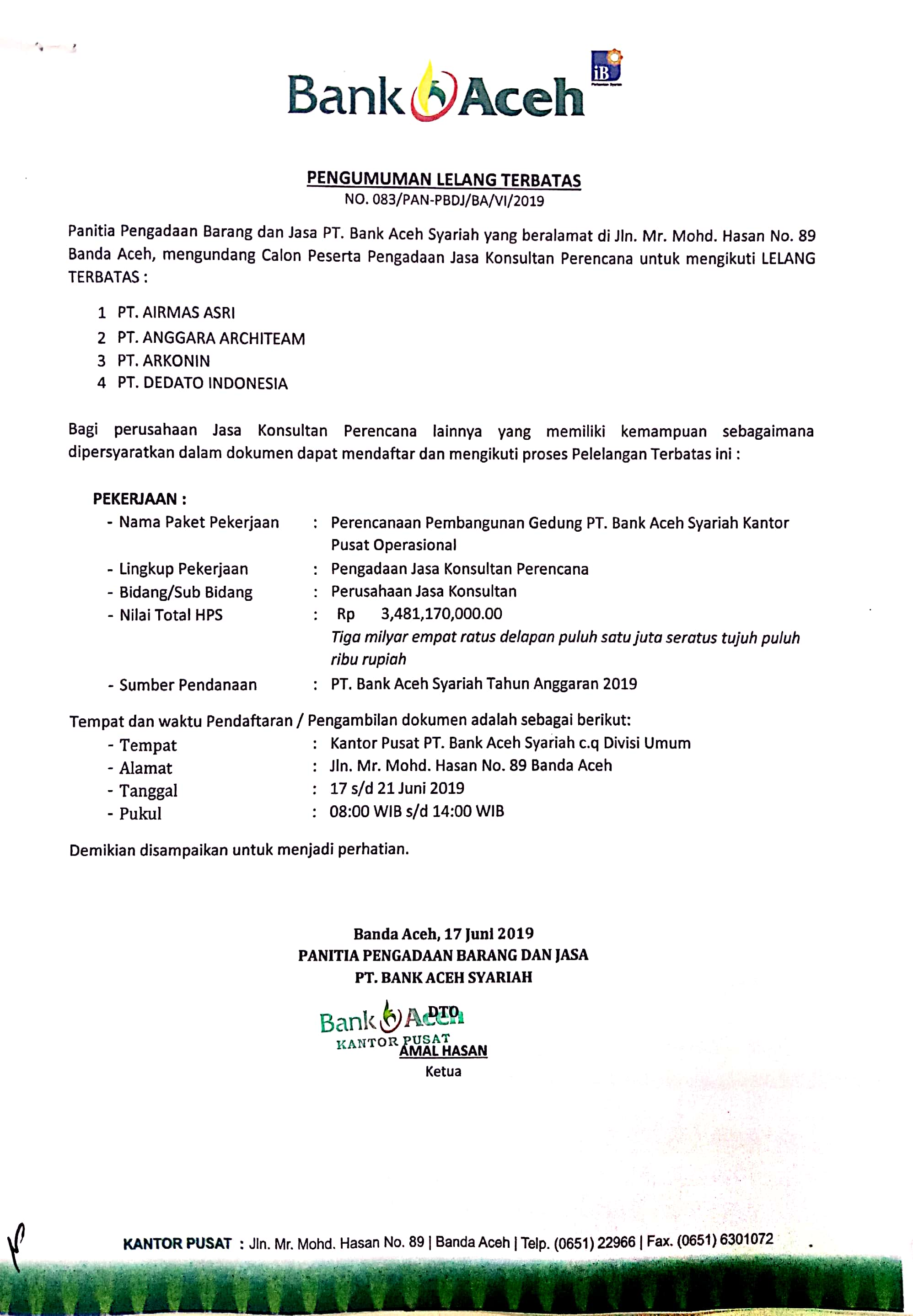 Pengumuman Bank Aceh